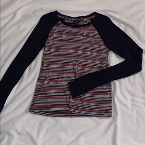 Navy blue and multicolored striped long sleeve
